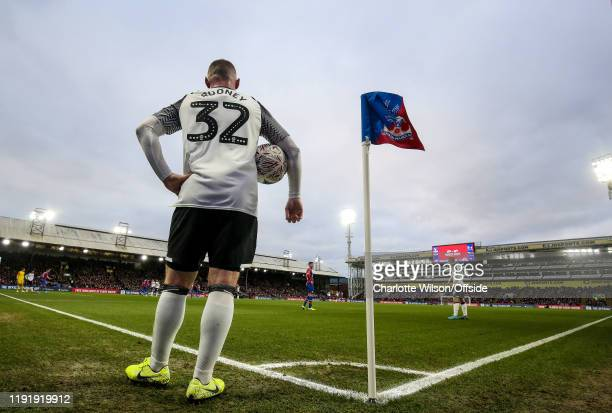 Wayne Rooney of Derby prepares to take a corner kick during the FA Cup Third Round match between Crystal Palace and Derby County at Selhurst Park on...