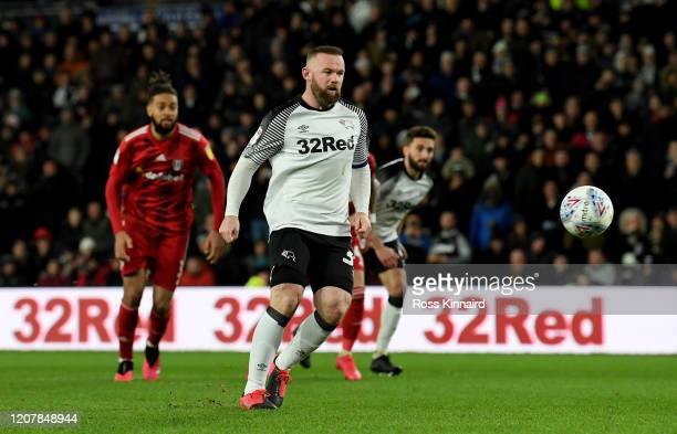Wayne Rooney of Derby scores the opening goal from a 'Panenka' penalty during the Sky Bet Championship match between Derby County and Fulham at Pride...