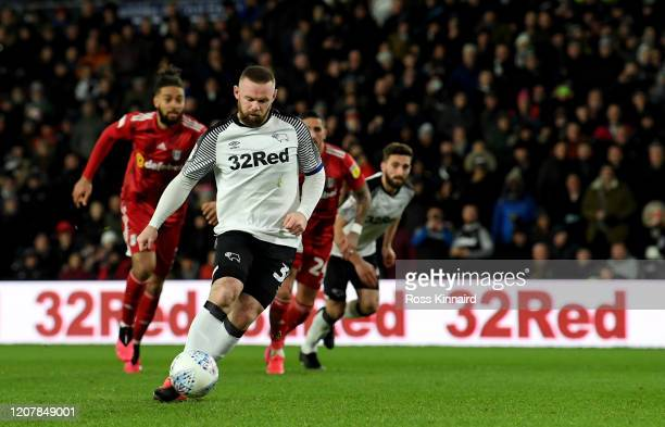 Wayne Rooney of Derby scores the opening goal with a 'Panenka' penalty during the Sky Bet Championship match between Derby County and Fulham at Pride...