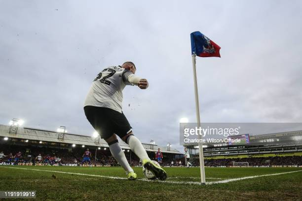 Wayne Rooney of Derby takes a corner kick during the FA Cup Third Round match between Crystal Palace and Derby County at Selhurst Park on January 5,...