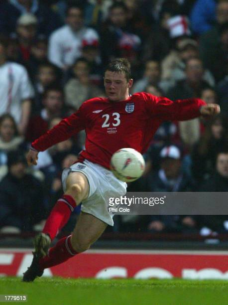 Wayne Rooney of Engalnd in action on his debut during the International Friendly match between England and Australia at Upton Park in London on...