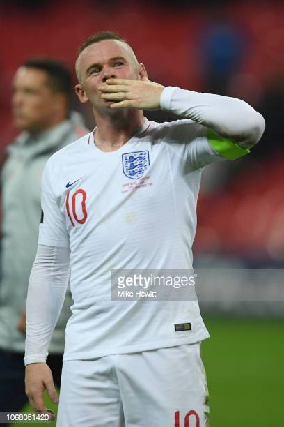 Wayne Rooney of England blows a kiss to the crowd at the end of the International Friendly match between England and United States at Wembley Stadium...