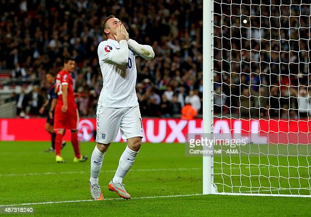 Wayne Rooney of England celebrates after he scores a goal to make it 20 and become England's top goalscorer during the UEFA Euro 2016 Qualifier Group...