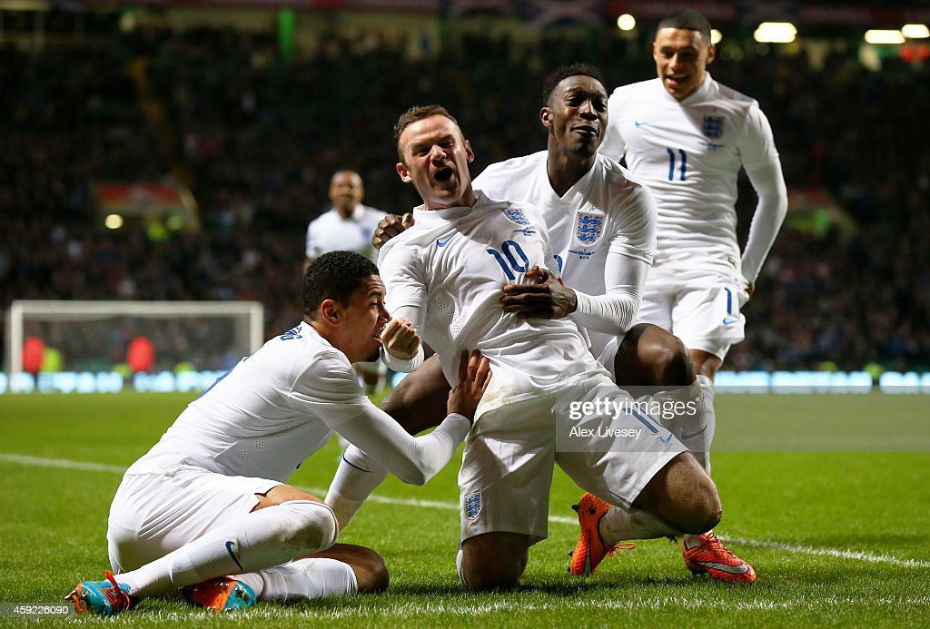 Wayne Rooney of England celebrates after scoring his team's second goal during the International Friendly match between Scotland and England at Celtic Park Stadium on November 18, 2014 in Glasgow, Scotland.