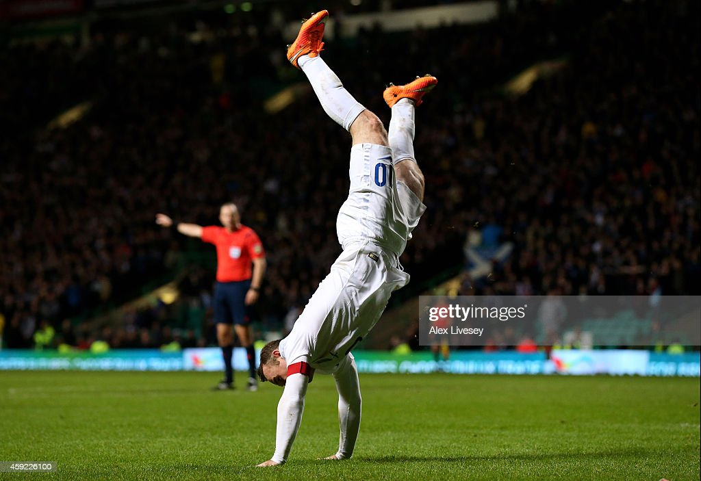 Wayne Rooney of England celebrates after scoring his team's third goal during the International Friendly match between Scotland and England at Celtic Park Stadium on November 18, 2014 in Glasgow, Scotland.
