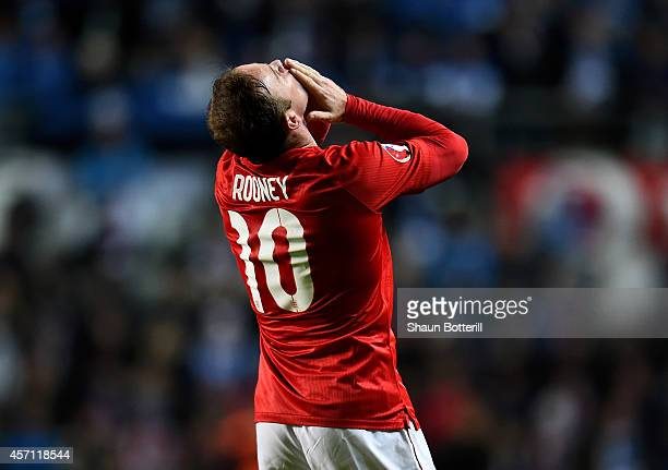 Wayne Rooney of England celebrates after scoring the opening goal from a free kick during the EURO 2016 Qualifier match between Estonia and England...