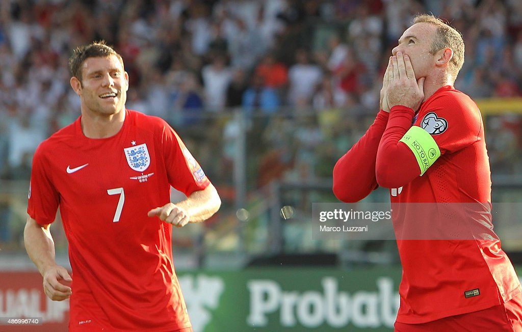 Wayne Rooney of England celebrates after scoring the opening goal equalling the record of 49 goals set by Sir Bobby Charlton during the UEFA EURO 2016 Qualifier between San Marino and England at Stadio Olimpico on September 5, 2015 in San Marino, Italy.