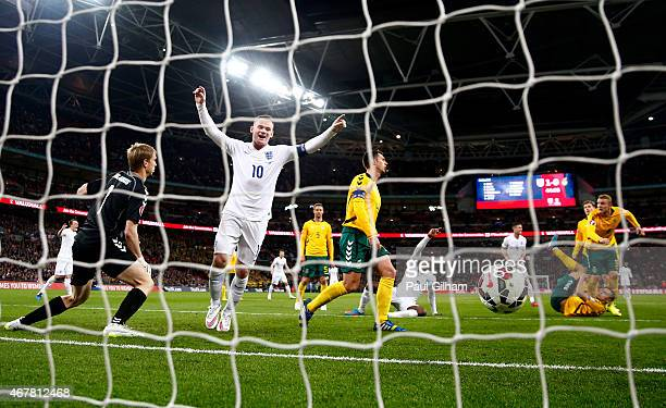Wayne Rooney of England celebrates after the second goal during the EURO 2016 Qualifier match between England and Lithuania at Wembley Stadium on...