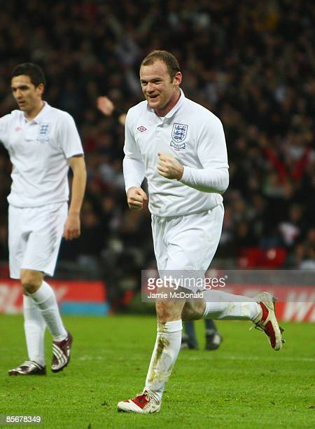 Wayne Rooney of England celebrates his first goal during the International Friendly match between England and Slovakia at Wembley Stadium on March 28...