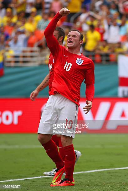 Wayne Rooney of England celebrates scoring their first goal during the International friendly match between England and Ecuador at Sun Life Stadium...