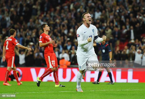 Wayne Rooney of England celebrates scoring their second goal from the penalty spot during the UEFA EURO 2016 Group E qualifying match between England...