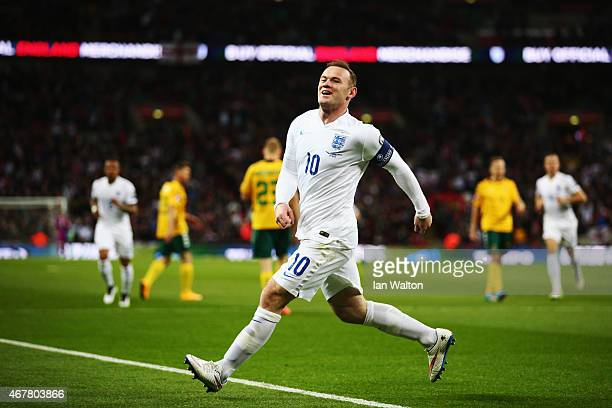 Wayne Rooney of England celebrates the first goal during the EURO 2016 Qualifier match between England and Lithuania at Wembley Stadium on March 27,...