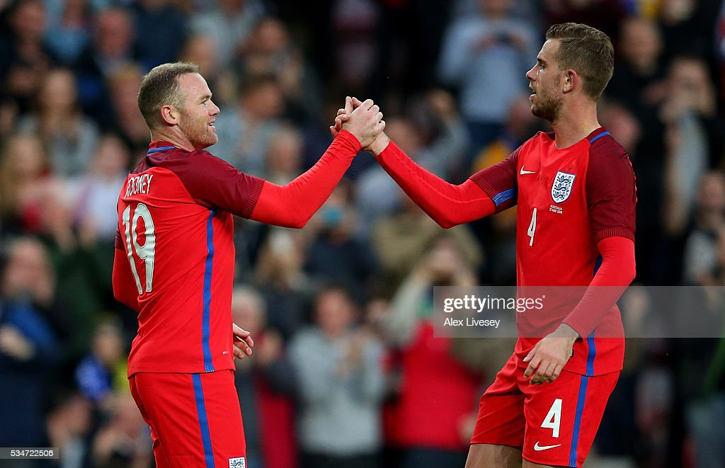 Wayne Rooney of England celebrates with team mates after scoring his team's second goal of the game during the International Friendly match between England and Australia at Stadium of Light on May 27, 2016 in Sunderland, England.