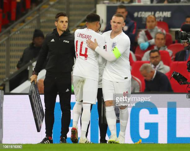 Wayne Rooney of England comes on for Jesse Lingard of England during the International Friendly match between England and United States at Wembley...