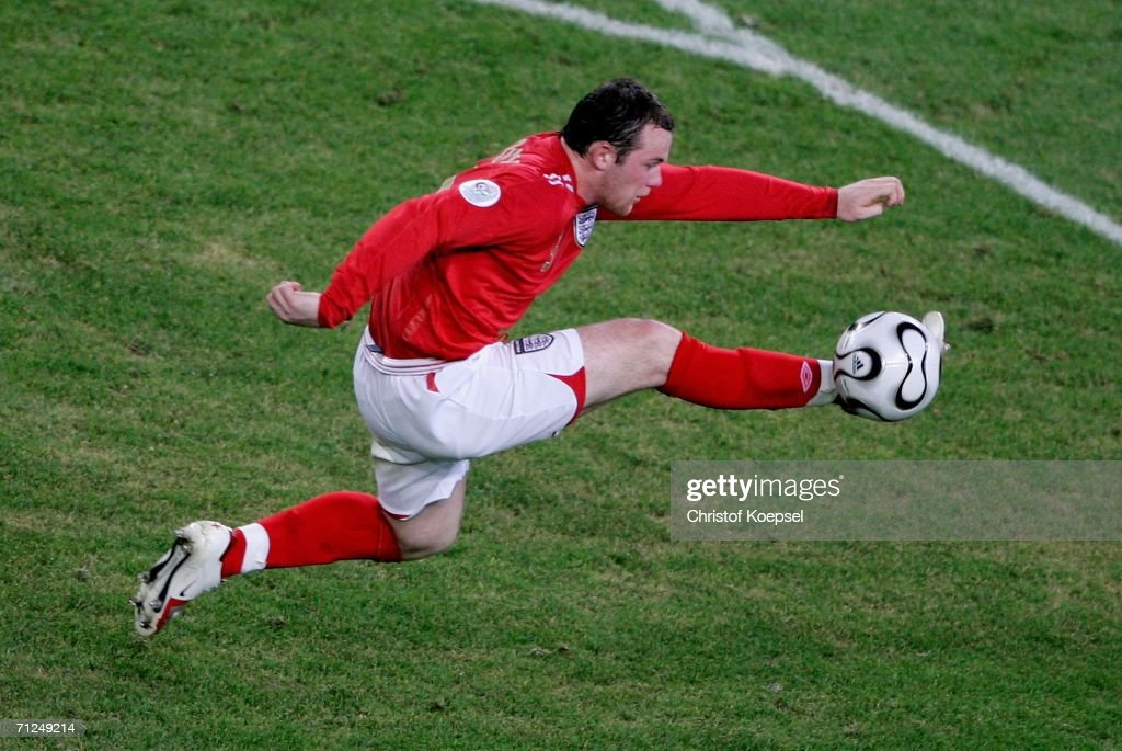 Wayne Rooney of England controls the ball during the FIFA World Cup Germany 2006 Group B match between Sweden and England at the Stadium Cologne on June 20, 2006 in Cologne, Germany.