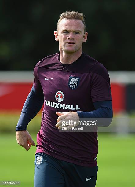 Wayne Rooney of England during a training session at Tottenham Hotspur Training Centre on September 7 2015 in Enfield England