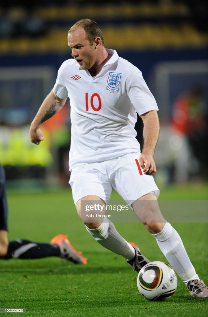 Wayne Rooney of England during the 2010 FIFA World Cup South Africa Group C match between England and USA at the Royal Bafokeng Stadium on June 12, 2010 in Rustenburg, South Africa. The match was drawn 1-1.