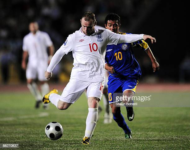 Wayne Rooney of England fires in a shot during the FIFA2010 World Cup Qualifier between Kazakhstan and England at the Central Stadium on June 6 2009...