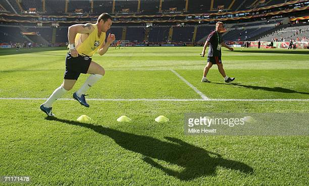 Wayne Rooney of England goes through a post match training session following the FIFA World Cup Germany 2006 Group B match between England and...