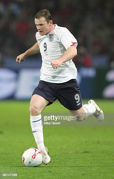 Wayne Rooney of England in action during the International friendly match between England and Argentina at the Stade de Geneve on November 12 2005 in...