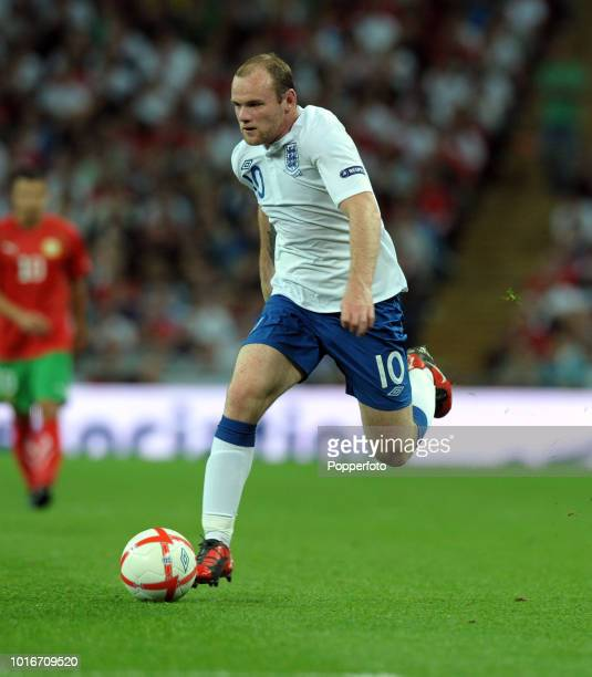 Wayne Rooney of England in action during the UEFA EURO 2012 Group G Qualifying match between England and Bulgaria at Wembley Stadium in London on...
