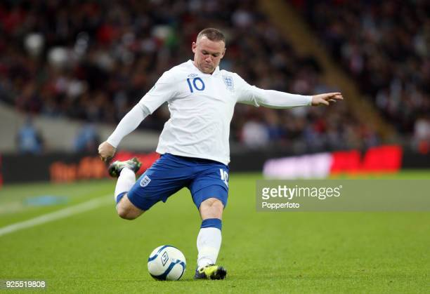 Wayne Rooney of England in action during the UEFA EURO 2012 group G qualifying match between England and Wales at Wembley Stadium in London on...