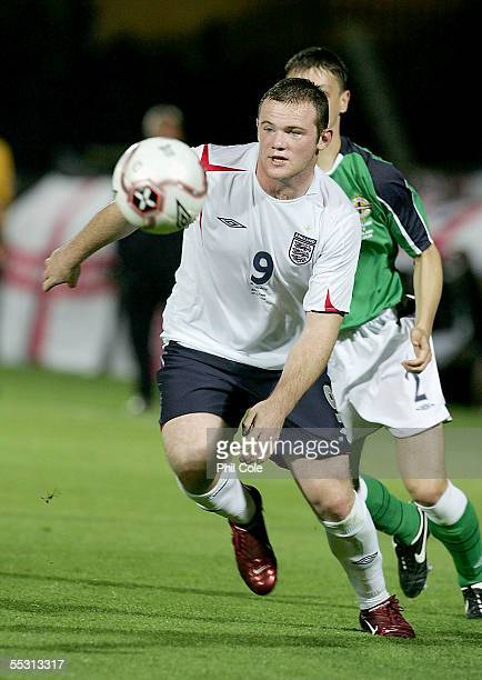 Wayne Rooney of England in action during the World Cup Qualifier Group six match at Windsor Park on September 7 2005 in Belfast Northern Ireland