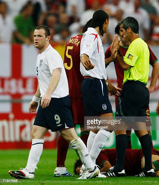 Wayne Rooney of England is sent off by Referee Horacio Elizondo of Argentina during the FIFA World Cup Germany 2006 Quarterfinal match between...