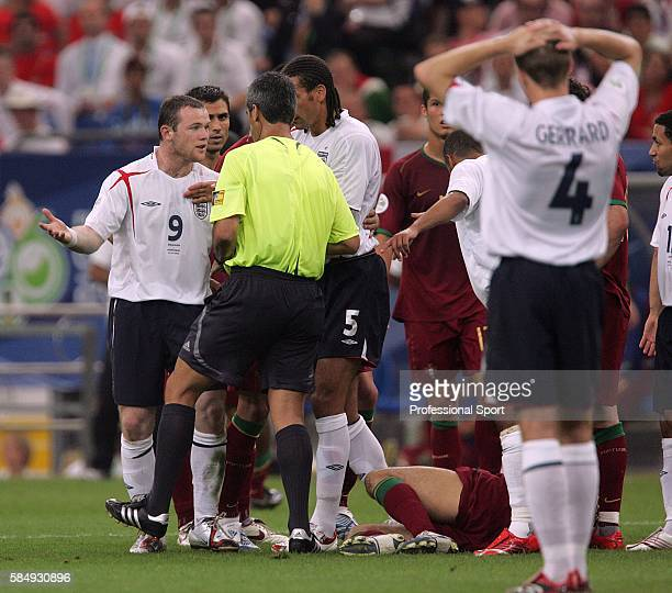 Wayne Rooney of England is sent off by referee Horacio Elizondo during the FIFA 2006 World Cup quarterfinal match between England and Portugal played...