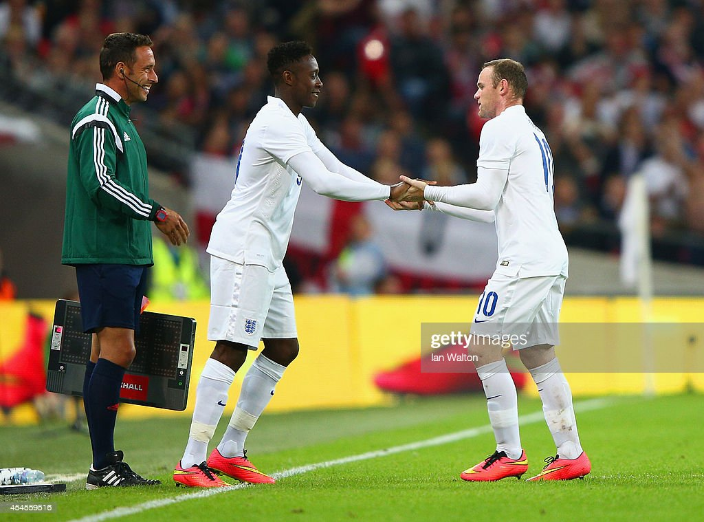 Wayne Rooney of England is substituted for Danny Welbeck of England during the International friendly match between England and Norway at Wembley Stadium on September 3, 2014 in London, England.