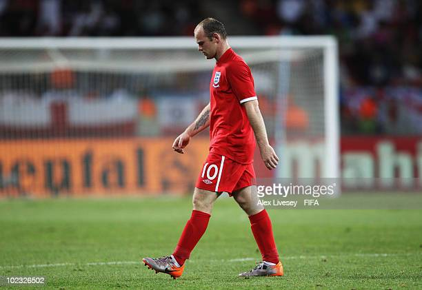 Wayne Rooney of England looks dejected during the 2010 FIFA World Cup South Africa Group C match between Slovenia and England at the Nelson Mandela...