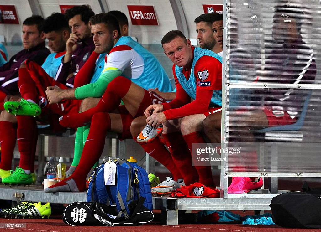 Wayne Rooney of England looks on after being substituted during the UEFA EURO 2016 Qualifier between San Marino and England at Stadio Olimpico on September 5, 2015 in San Marino, Italy.