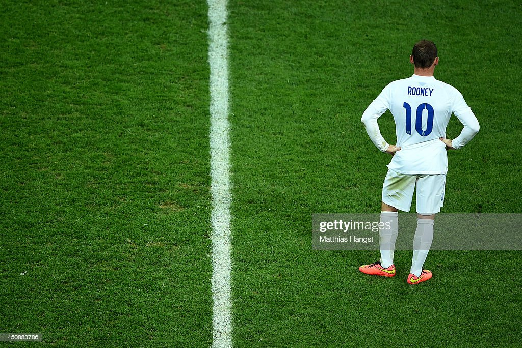 Wayne Rooney of England looks on after losing to Uruguay 2-1 during the 2014 FIFA World Cup Brazil Group D match between Uruguay and England at Arena de Sao Paulo on June 19, 2014 in Sao Paulo, Brazil.