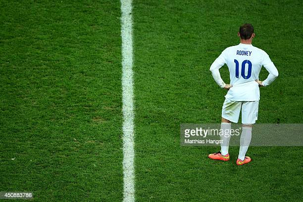 Wayne Rooney of England looks on after losing to Uruguay 21 during the 2014 FIFA World Cup Brazil Group D match between Uruguay and England at Arena...