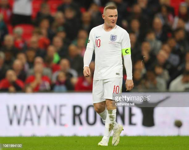 Wayne Rooney of England looks on during the International Friendly match between England and United States at Wembley Stadium on November 15 2018 in...