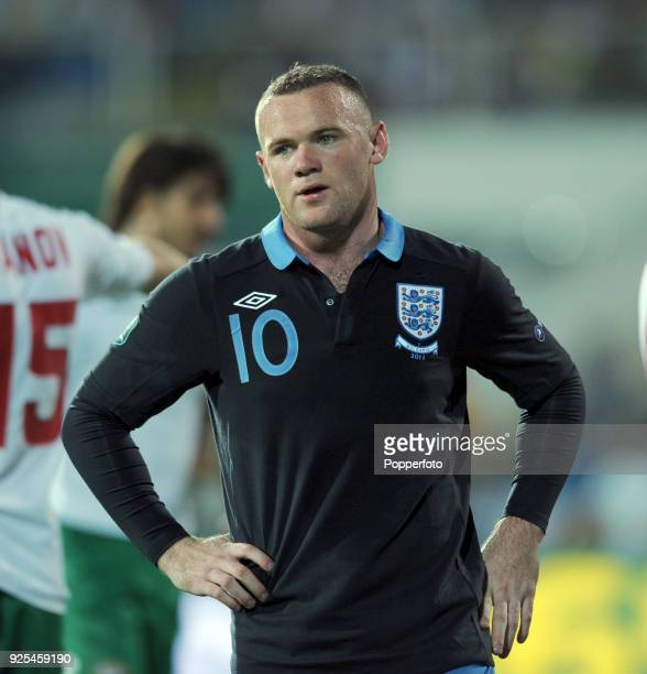 Wayne Rooney of England looks on during the UEFA EURO 2012 group G qualifying match between Bulgaria and England at the Vasil Levski National Stadium...
