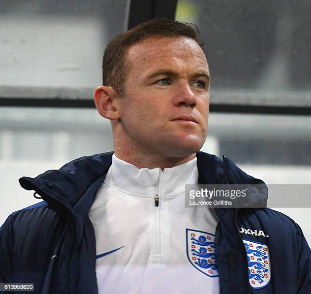 Wayne Rooney of England looks on from the bench before the FIFA 2018 World Cup Qualifier Group F match between Slovenia and England at Stadion...