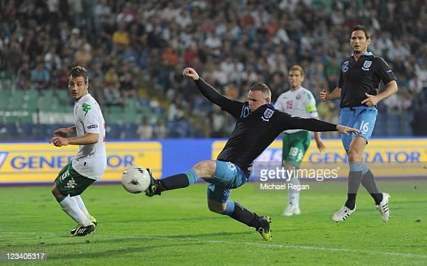 Wayne Rooney of England misses a late chance for his hattrick during the UEFA EURO 2012 group G qualifying match between Bulgaria and England at the...