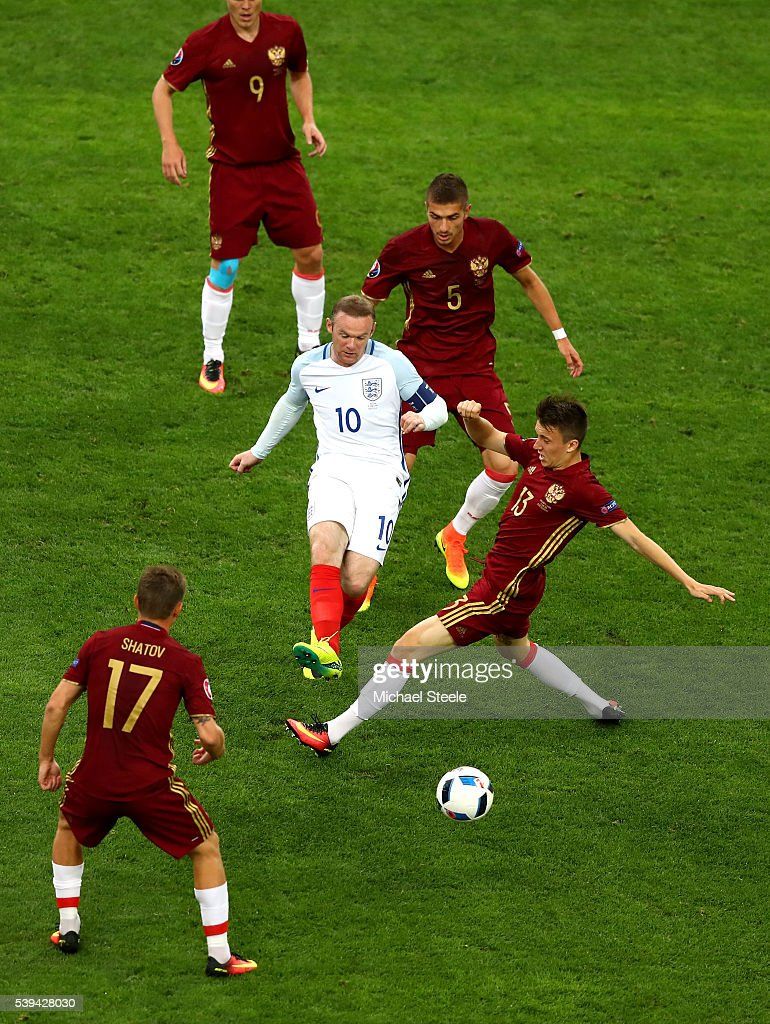 Wayne Rooney of England passes the ball during the UEFA EURO 2016 Group B match between England and Russia at Stade Velodrome on June 11, 2016 in Marseille, France.