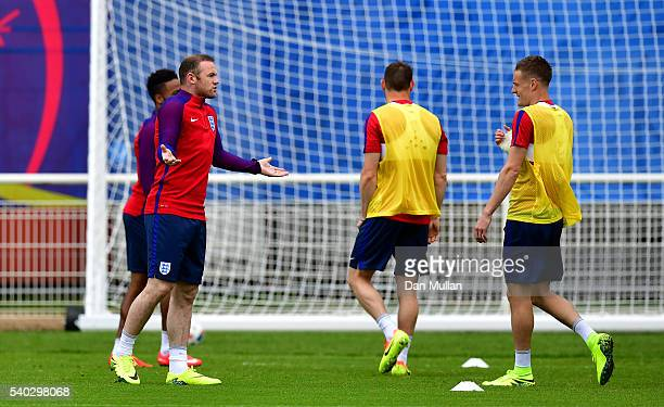 Wayne Rooney of England reacts during a training session at Stade du Bourgognes ahead of the UEFA Euro 2016 match against Wales on June 15 2016 in...