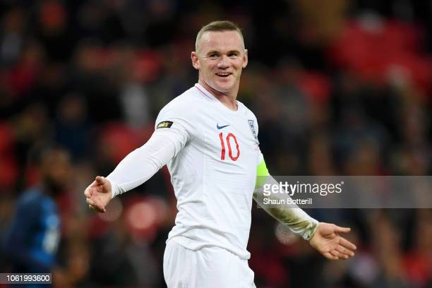 Wayne Rooney of England reacts during the International Friendly match between England and United States at Wembley Stadium on November 15 2018 in...