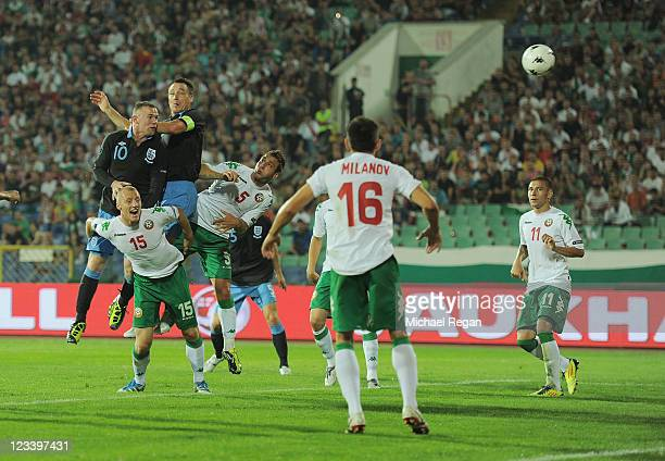 Wayne Rooney of England scores his team's second goal during the EURO 2012 group G qualifying match between Bulgaria and England at the Vasil Levski...