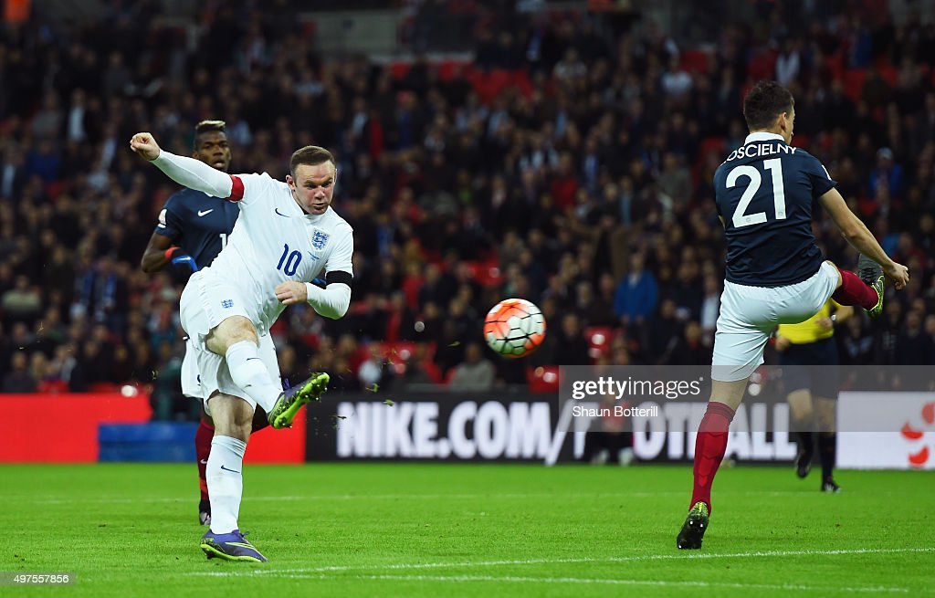 Wayne Rooney of England scores his team's second goal during the International Friendly match between England and France at Wembley Stadium on November 17, 2015 in London, England.