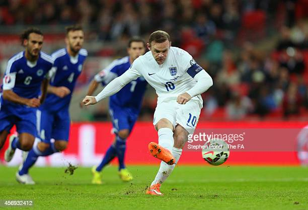 Wayne Rooney of England scores his team's second goal from the penalty spot during the EURO 2016 Qualifier match between England and San Marino at...