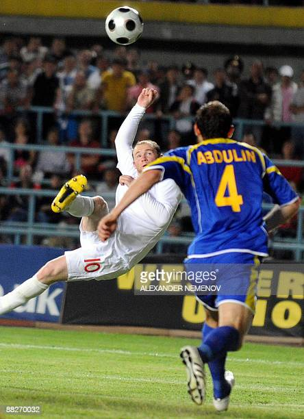 Wayne Rooney of England scores the fourth goal against team Kazakhstan, on June 6, 2009 during the 2010 FIFA World Cup qualifier of European group 6...