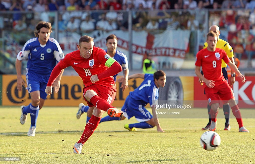 Wayne Rooney of England scores the opening goal from the penalty spot equalling the record of 49 goals set by Sir Bobby Charlton during the UEFA EURO 2016 Qualifier between San Marino and England at Stadio Olimpico on September 5, 2015 in San Marino, Italy.