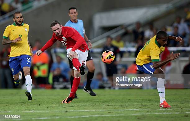 Wayne Rooney of England scores the second goal during the International Friendly match between Brazil and England at Maracana on June 2 2013 in Rio...