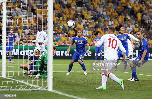 Wayne Rooney of England scores their first goal during the UEFA EURO 2012 group D match between England and Ukraine at Donbass Arena on June 19 2012...