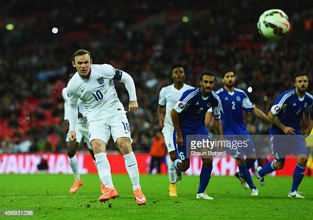 Wayne Rooney of England scores their second goal from the penalty spot during the EURO 2016 Group E Qualifying match between England and San Marino...