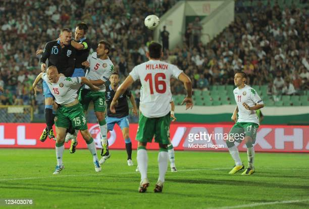 Wayne Rooney of England scores this team's second goal during the EURO 2012 group G qualifying match between Bulgaria and England at the Vasil Levski...